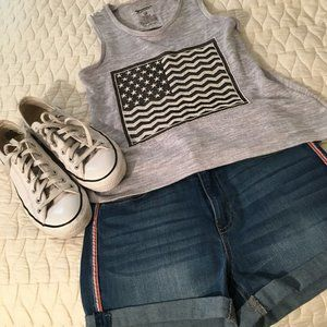 Gray Sweater Flag Tank